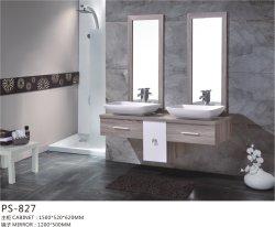 PVC Paint Free aan de muur gemonteerd Type Badkamer kast meubilair met Keramisch bassin en eenvoudige spiegel
