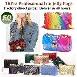 Le donne del sacchetto del raccoglitore del silicone dei sacchetti di mano del Tote della spiaggia del Rainbow di colore della borsa della moneta della spalla di modo comerciano la borsa all'ingrosso cosmetica della gelatina del PVC