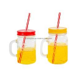 16ounce のガラスヨークシャーの石大工の瓶はハンドルの金属との mugs を飲む ふたとハードプラスチックリユーザブルストロー