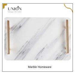 Plateau de service rectangulaire en marbre avec poignées dorées pour la maison Plateau