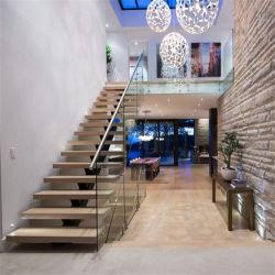 Escada de madeira maciça de design contemporâneo escada de aço invisível Stringer escadas retas