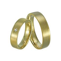 Fashion Nickle libre Couple en laiton massif plaqué or wedding bagues Bijoux pour anneaux d'or réel des échantillons