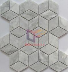 壁および床(CFS1193)のための立方体のBiancoカラーラの大理石のモザイク