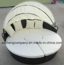 家具のKd屋外のAluの藤の円形の寝台兼用の長椅子