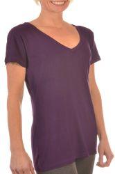 Stutzen-kurze Hülsen-Bambusshirt-T-Shirts der Frauen-V