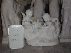 中国の庭のために切り分けている彫刻の手によって切り分けられる大理石の石造りの赤ん坊を切り分けている西部の彫刻の子供
