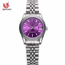 2018 Дизайн моды Япония Movt фиолетовый Crystal Face 3ATM Водостойкий Стальная полоса Rollex дамы часы#V614