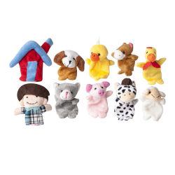 10 Conjunto de famílias de desenhos animados de animais de exploração marionetes de dedo