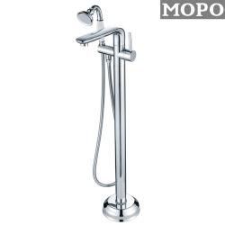 Banheiro bom Sanitária de Chão Chuveiro cromado de latão com torneira de água de cor prateada