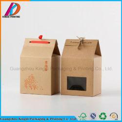 Chambre en forme de papier kraft brun boîte cadeau avec le ruban pour le thé/Food