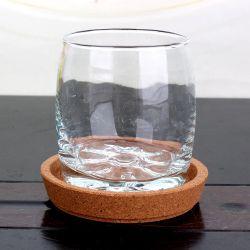 6oz de bière ronde en verre de thé de l'eau tasse avec Coaster