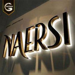 Il marchio dimensionale illuminato rivestito di stanza frontale di negozio tagliato laser della Manica 3D dell'acciaio inossidabile segna il segno con lettere del LED