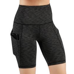 여자 운동복이 높은 허리 포켓 매일 투명하지 않은 요가에 의하여 누전한다
