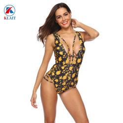 Van de douane van het Embleem het Sexy Jonge Diepe V hol-uit Gele Bloemen Afgedrukte Zwempak Monokini Uit één stuk van de Dames