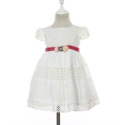 Cap Sleeve niños Ropa de verano color blanco 100% algodón vestido de encaje con cinta de la cintura