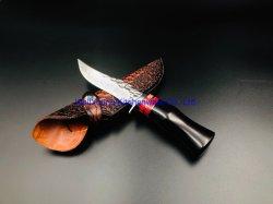 Damasco VG-10 Lâmina Fixa da Faca de sobrevivência ao ar livre com pega de madeira - Borda Fina (WY-D-047)