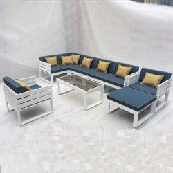 Vintage moderne hôtel Accueil Le bois plastique Patio canapé en aluminium bleu Set de meubles de jardin en plein air Loisirs