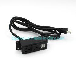 Faixa de Alimentação da Tomada Extensão americano 2 Outlets 2 USB