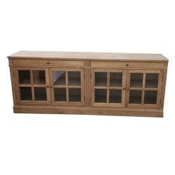 Kvj-7542o твердых отделанной деревом в деревенском стиле хранения кабинета с стекла задней двери
