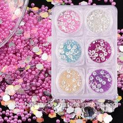 6 de kleuren/het de Vastgestelde Micro- van Charmes DIY Parels van de Kaviaar en Bergkristal van het Kristal en schitteren Decoratie van de Kunst van de Spijker van de Spijkers van de Juwelen van Lovertjes 3D (ND10)