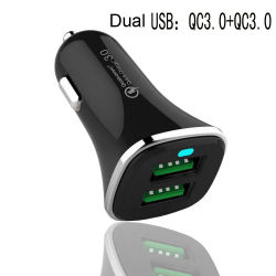 Accesorios de telefonía móvil 2 USB Cargador de coche USB Dual QC3.0