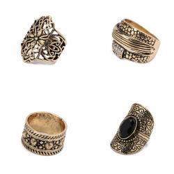 4pcs Boho Black Diamond MIDI Finger Ring Set per Court Jewelry