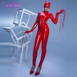 Hot Club de nuit buste ouvert d'usure de fermeture à glissière en cuir de PVC Catwoman L60815