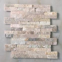 Los materiales de construcción de la superficie dividida P014 Real decorativos de color beige apilados de piedra natural de pizarra los paneles de pared exterior de chapa