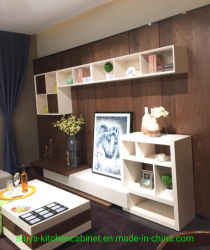 現代デザイン居間TVの立場の家具、平らなTVの壁単位木TVのキャビネットデザイン
