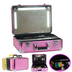 공장 빛과 미러를 가진 도매 직업적인 단단한 트롤리 메이크업 트레인 상자