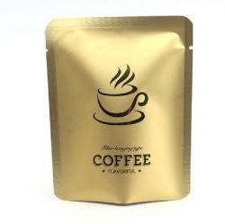 Confezione di bustina mini per caffè antigoccia lucida opaca in oro per Confezione filtro auricolare con aggancio potenza caffè 10g 10X12,5 dimensioni