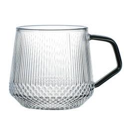 Stripe Copo de vidro com puxador de cor de chá de vidro conjunto panela de água