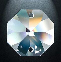 Crystal 2 trous en perles de verre cristal clair prisme de l'Octogone cordon