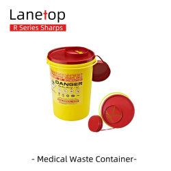 FDA-gebilligte kleine runde gelbe Wegwerfscharf-medizinischer Abfallbehälter des Zoll-1.5L für Krankenhaus-Klinik und zahnmedizinischen Gebrauch