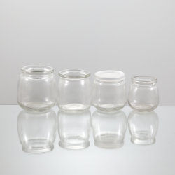 Vidro de pedra de pudim de iogurte Copo com tampa de plástico para o pacote