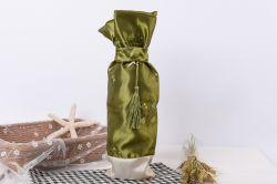 Botella de vino de satén de lujo Bolsa Bolsa de embalaje con borla