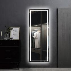شعار مخصص أرضية فاخرة بلا إطارات فساتين حائطي بتقنية LED كاملة الطول المرآة