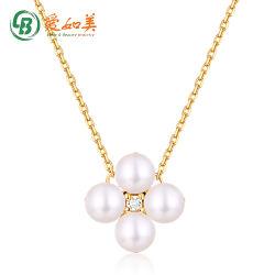 Großhandelshalsketten-Schmucksachen Vier-Blatt Form-Frischwasserperlen-Halskette des Gold14k für Frauen