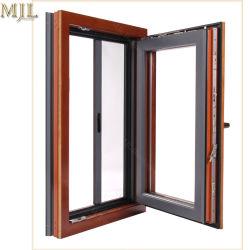 Nouveau design en bois composite aluminium latérales à charnières de fenêtre en verre unique