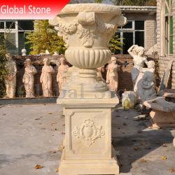 Pierre personnalisée en marbre du semoir Pot de fleurs pour la décoration de jardin