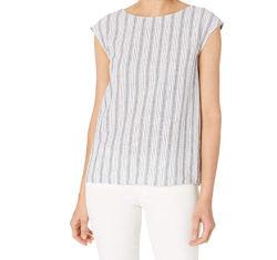 여자의 여름 주문 느슨한 편리한 고품질 형식 우연한 새로운 면 리넨 소매 없는 줄무늬 둥근 목 t-셔츠