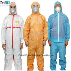 Branco/Azul impermeável à prova de tipo 5/6 microporosa de vestuário de PP/SF/PE indústria química de Laboratório Filme Micro O SMS não tecidos de protecção de segurança de fato-macaco descartáveis