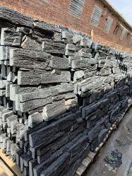 Черный Ledgestone Уложенной камня шпона Китая Quartzite стены оболочка