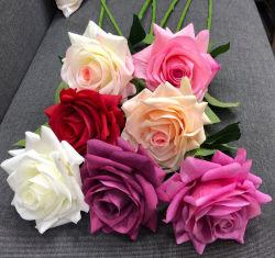 Látex artificial verdadero toque de seda rosa rosa decorativas flores artificiales