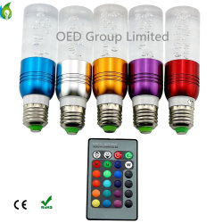 Changement de couleurs de LED E27 E14 B22 GU10 3W feux à LED RVB AC 85-265V 16 couleurs changer les ampoules à LED de cristal de la lumière avec 24 touches de contrôle à distance