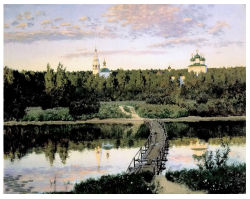 Artistas famosos pintura a óleo, arte da pintura, obra de pintura a óleo, Claustro tranquila (1890 anos) -Isaak Levitan Iliich