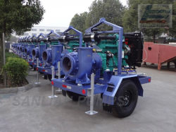 Flux mixte de l'eau Centrifuga /remorque//L INONDATION//Pluriétagé pompe Diesel (HW-T)