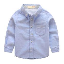 Custom Logo Kinder Jungen Shirts Langarm Solid Schule Uniform Hemden