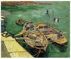 Les artistes célèbres Huile sur toile, peinture d'art, Masterpiece Huile sur toile, Quay avec les hommes de déchargement de barges de sable (1888 ans) -Vincent Van Gogh