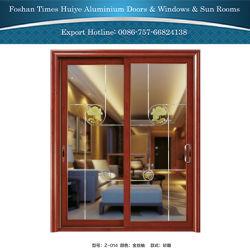 Puertas correderas de aluminio Galss grabado con el patrón de grano de madera